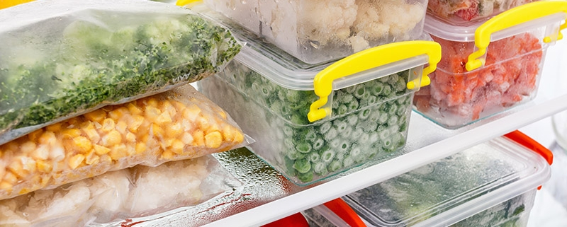 Food stored in bags and plasticware