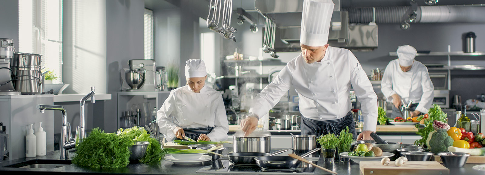 Chefs working in a gleaming stainless steel kitchen